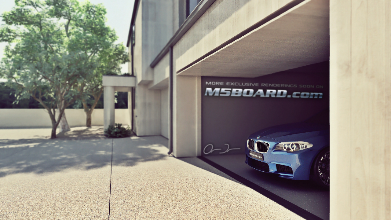 Picture (3D Studio computerrendering): BMW M5 F10 2011 in clear Indianapolis Red + Interlagos Blue at the Luxury Estate from the Front and Rear-04.jpg