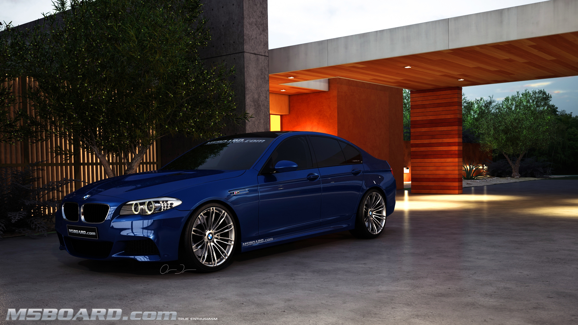 Picture (3D Studio computerrendering): BMW M5 F10 2011 in clear Indianapolis Red + Interlagos Blue at the Luxury Estate from the Front and Rear-05_final.jpg