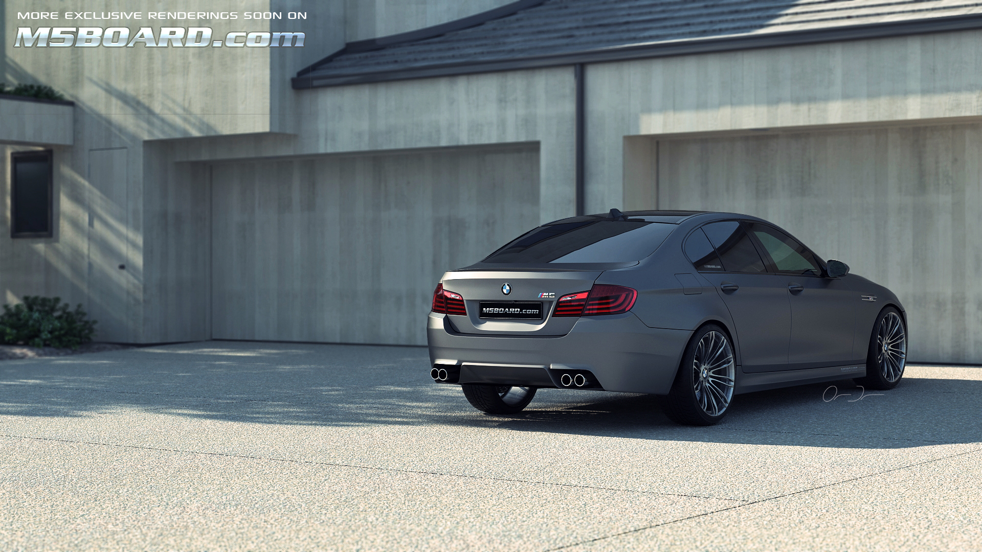 Picture: (3D Studiocomputerrendering): Frozen Gray / Grey BMW M5 F10 Individual with black wheels in front of four car garage (and updated front spoiler, reardiffuser and normal hood)-07.jpg