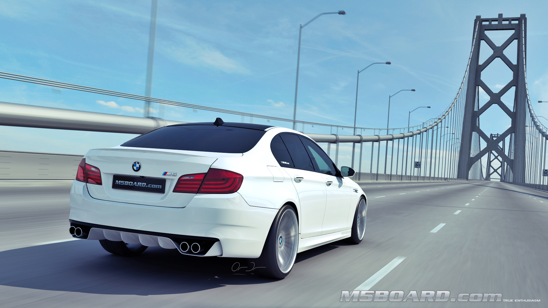 Picture (3D Studio computerrendering): BMW M5 F10 2011 in clear Indianapolis Red + Interlagos Blue at the Luxury Estate from the Front and Rear-07_final.jpg