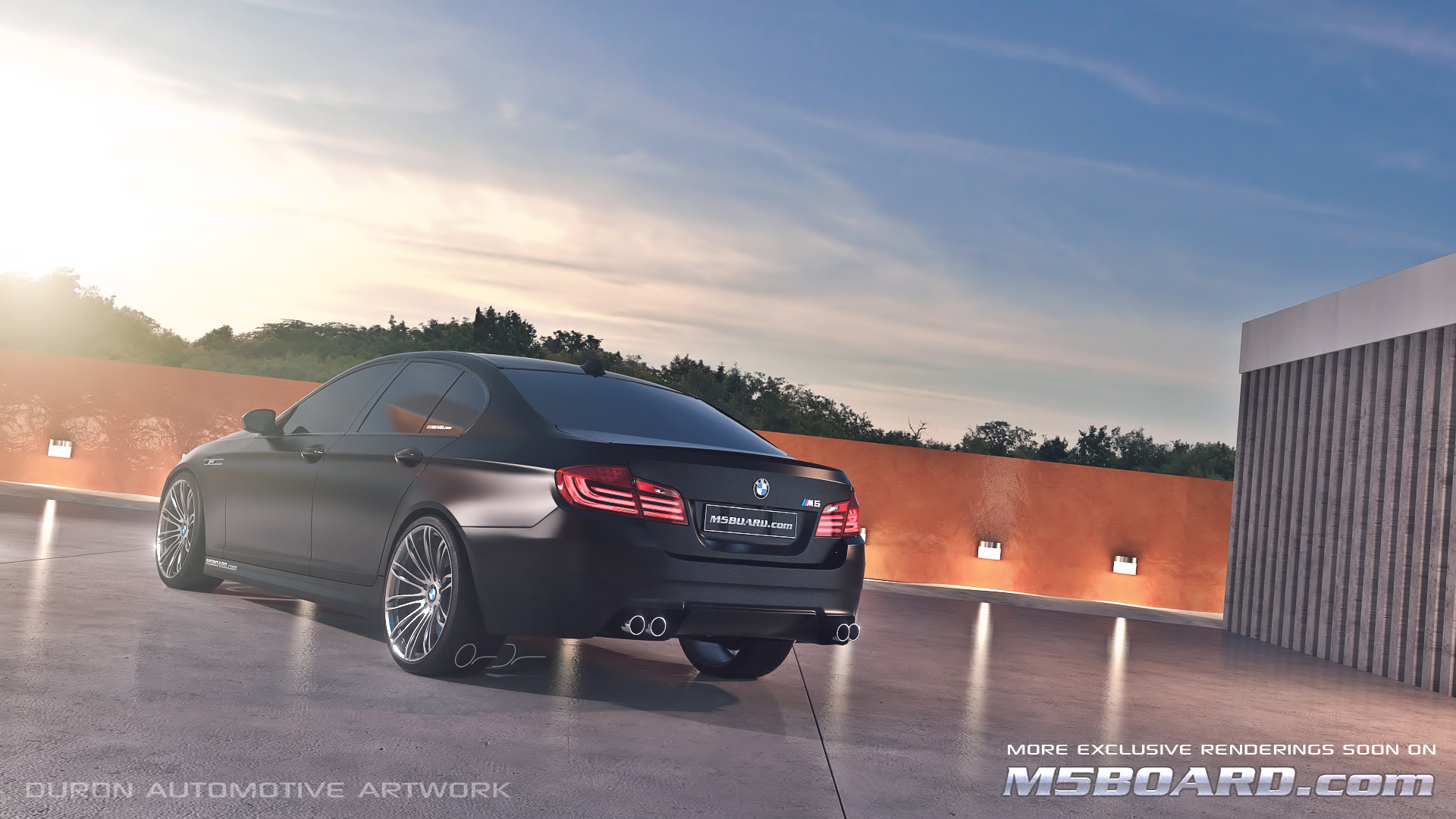 Picture (3D Studio computerrendering): BMW M5 F10 2011 in clear Indianapolis Red + Interlagos Blue at the Luxury Estate from the Front and Rear-frozenblackbmwm5f102011m5boardrear.jpg