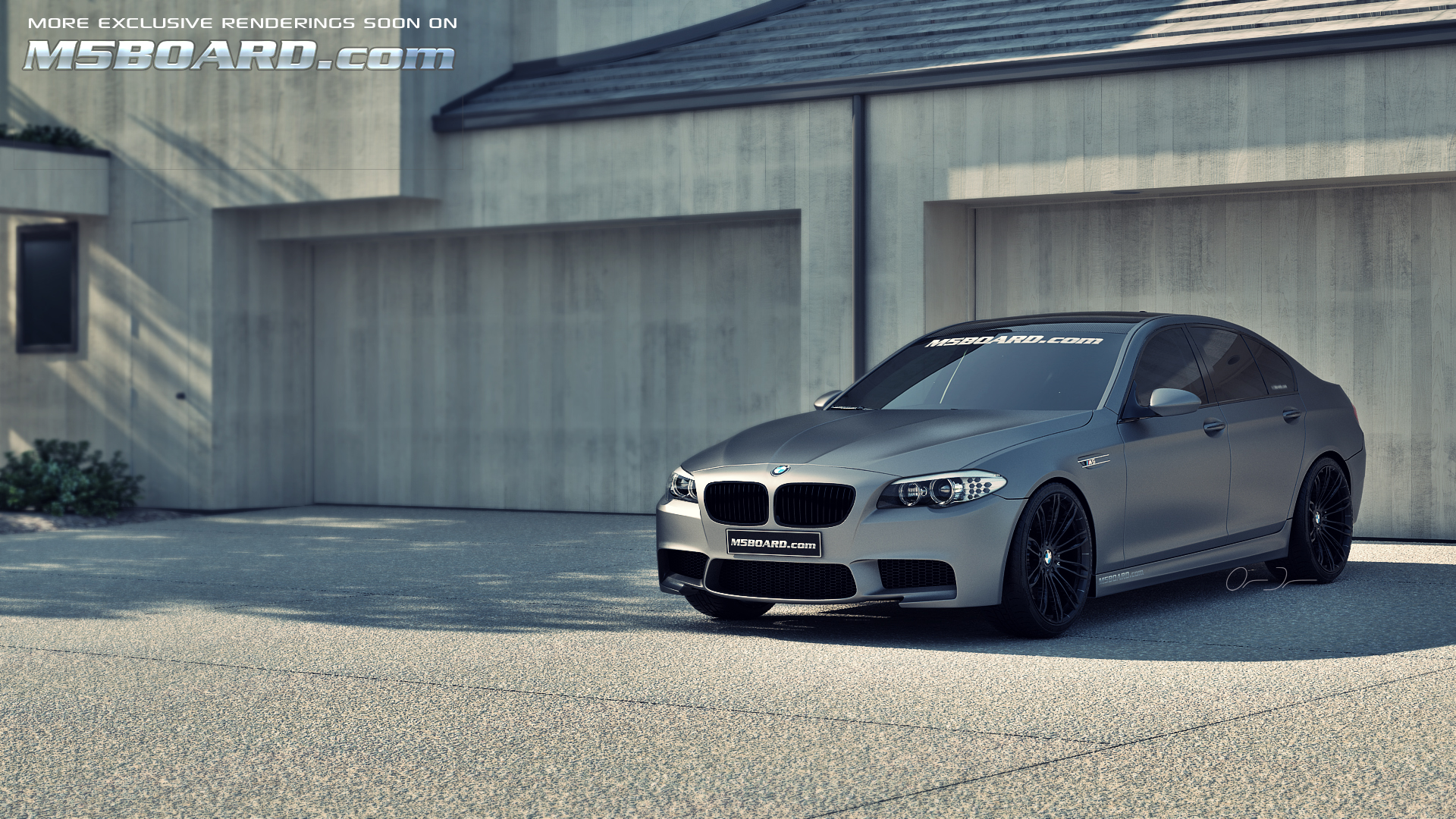 Picture: (3D Studiocomputerrendering): Frozen Gray / Grey BMW M5 F10 Individual with black wheels in front of four car garage (and updated front spoiler, reardiffuser and normal hood)-frozengraybmwm5f10blackwheelsm5boardcom.jpg
