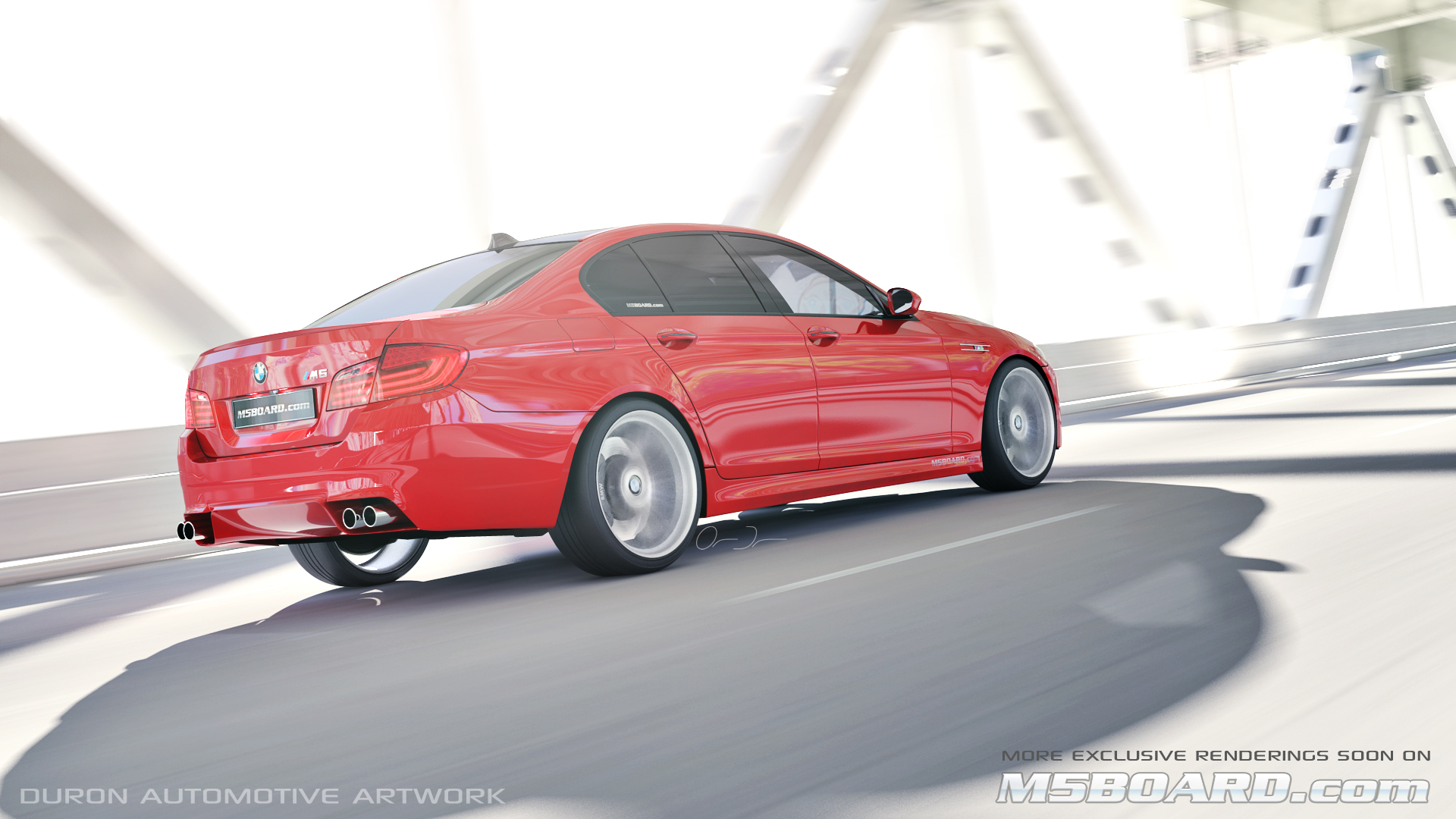 Picture (3D Studio computerrendering): BMW M5 F10 2011 in clear Indianapolis Red + Interlagos Blue at the Luxury Estate from the Front and Rear-m5boardf10bmwm5melbournered.jpg
