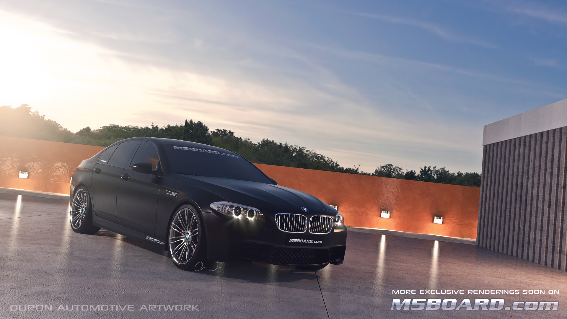 Picture (3D Studio computerrendering): BMW M5 F10 2011 in clear Indianapolis Red + Interlagos Blue at the Luxury Estate from the Front and Rear-m5boardfrozenblacksapphireblackbmwm5f102011.jpg