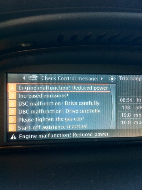 Bmw check engine light increased emissions
