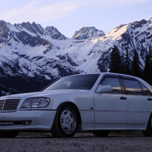 My Benz 600sel AMG - taken on the drive back to Calgary with my Biturbo at the top of Roger's Pass.
