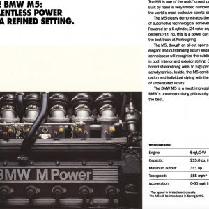 1991 LA Auto Show Ad 2 Courtesy of Ken Little.  Note that the engine displayed in the ad is the S38B35, not the S38B36 which powered the 1991 M5.