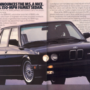 150 MPH Family Sedan Ad.  Courtesy of Ken Little.  This particular BMW of North America ad is the basis for the class action lawsuit where E28 M5 owne