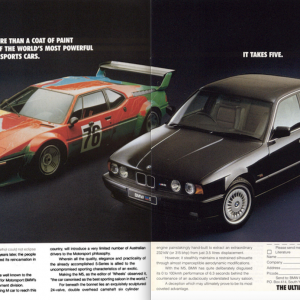 E26 M1 E34 M5 Coats of Paint Ad.  This was published by BMW of Australia.  I tried to mate up the two pieces as best as possible.  Thanks to Ken Littl