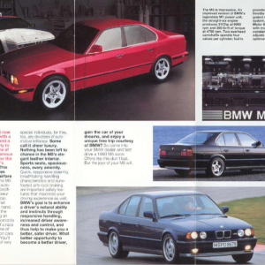 E34 M5 Euro Delivery Brochure 1. Offered for purchasers of 1993 MY E34 M5s.  Thanks to Steve Scaro for originally scanning the brochure.