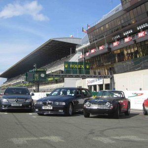 Le Mans Grid _ Lucie with British friends TR4 and Lotus Elan Sprint