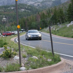 Driving in Rocky Mountain National Park.