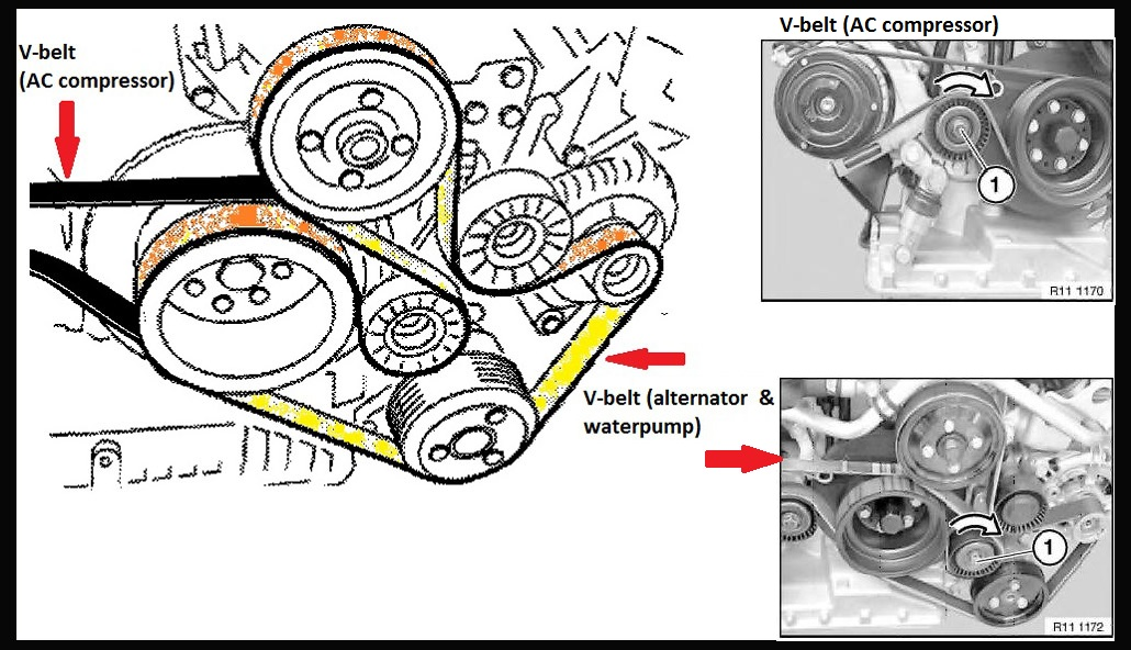 diy s62 v belts replacement and fan clutch replacement bmw m5 here is another picture on the pulley tensioner for the ac i didn t snap one for the alternator since i couldn t a good angle for it